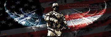 Picture Peddler No Greater Love (Gun) Jason Bullard Soldier Flag Military Print Poster 36X12