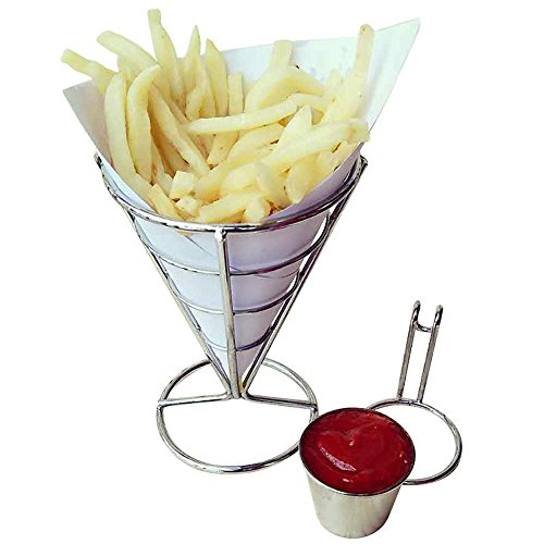 Fries Foods Stand Holder, FTXJ French Fry Chips Cone Metal Wire Basket with Sauce Dippers