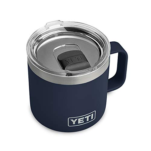 YETI Rambler 14 oz Mug, Vacuum Insulated, Stainless Steel with MagSlider Lid, Navy