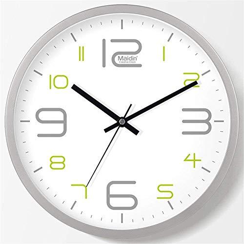 SUNTAOWAN Reloj DE Pared El Creativo decoración Simple Pared salón Dormitorio Sala de Estar Mudo Plata Reloj de Cuarzo, Debe ser 35 cm (Color: -, Tamaño: -)