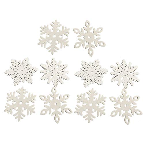 Amosfun 10 stücke Holz Ausschnitte Weihnachtsbaum Holz Formen Dekorationen Sterne Engel Schneeflocke Weihnachtsbaum hängen anhänger Ornament für Weihnachtsbaum Urlaub dekor (zufällige Stil weiß)