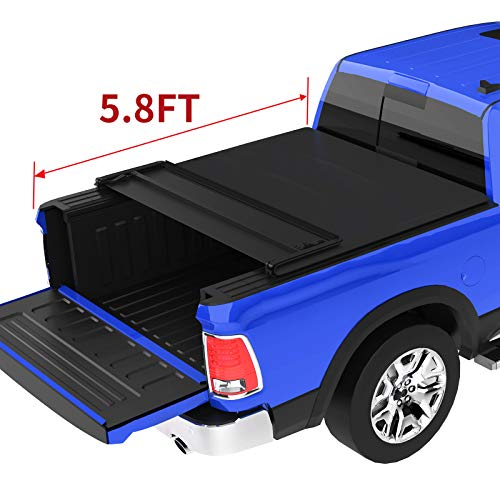 oEdRo Quad Fold Tonneau Cover Soft Four Fold Truck Bed Covers Compatible with 2009-2020 Dodge Ram 1500 5.8' Bed, Fleetside (for Models w/o Ram Box)