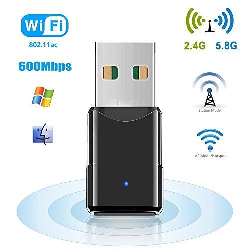 HANPURE USB WiFi, Adaptador WiFi USB 600Mbps, Mini WiFi USB Banda Dual 2.4G / 5.8G, Receptador USB WiFi para PC Inalámbrico Plug and Play, Soporta Windows 7/8/10, Mac OS X10.6-10.13
