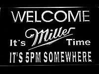 Miller It's Miller Time 5pm LED看板 ネオンサイン ライト 電飾 広告用標識 W30cm x H20cm ホワイト