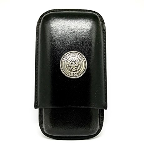 Genuine Leather US Army Cigar Case 3-Finger with 3 Cigar Holders - Pocket-Sized Cigar Case for Travel, Gifts for Men by Cigar Cutters by Jim (Black)