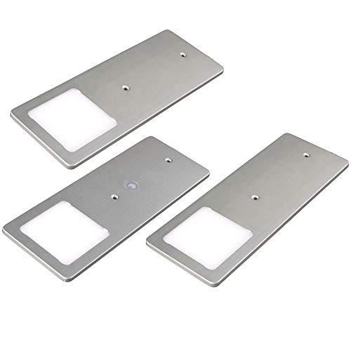 kalb | LED Unterbauleuchten silber 5W- sehr flache Küchenleuchte mit Touch-Dimmfunktion Einbaustrahler Einbauspot, Auswahl:3er Set warmweiss