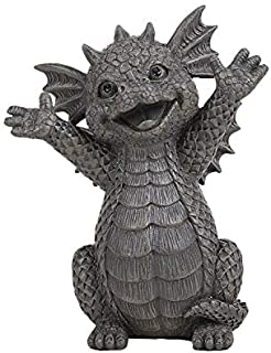 Pacific Giftware Happy Garden Dragon Cheering You On Garden Display Decorative Accent Sculpture Stone Finish 5.25 Inch Tall