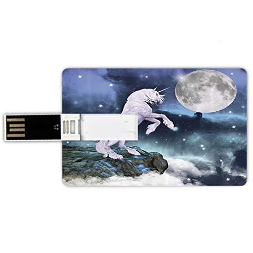 64GB Forma de tarjeta de crédito de unidades flash USB Conjunto de unicornio Estilo de tarjeta de banco de Memory Stick Criatura legendaria en las rocas de los acantilados en la fantasía del cielo cla