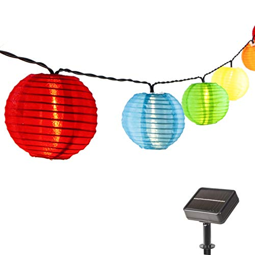 ZHONGXIN Solar Lantern LED String Lights, 32.6ft 50 Warm White LED, Waterproof Outdoor Fairy Lights with Colorful Mini Lantern for Garden, Party, Fenced, Lawn, Backyard Christmas Holiday Decorations.