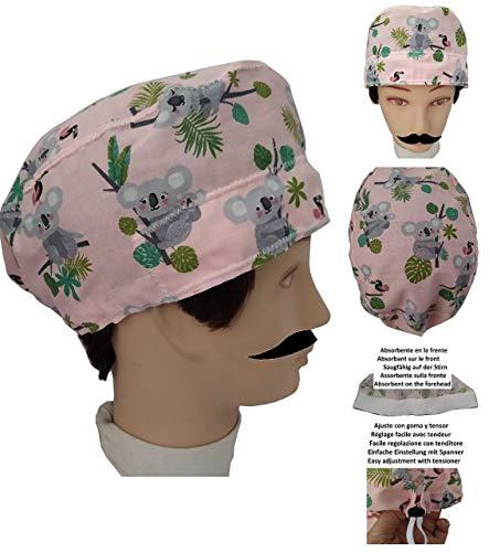 UOMO Cappello chirurgico KOALA per Capelli Corti chirurgo, dentista, veterinario, cuoco Asciugamano sulla fronte, tenditore regolabile sul retro