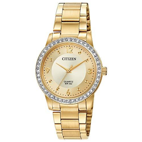 Citizen Reloj de cuarzo para mujer con correa de acero inoxidable, dos tonos, 18 (modelo: EL3092-86P)