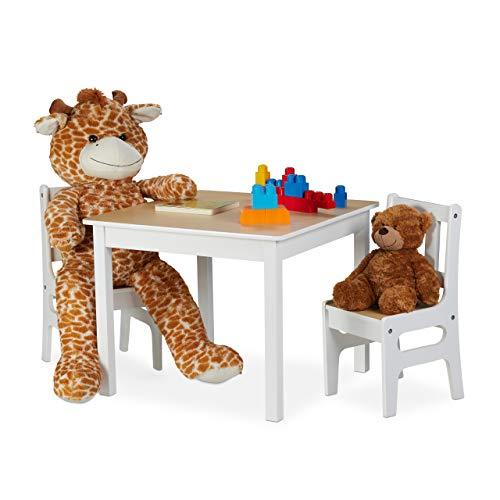 Relaxdays kindertafel met 2 stoelen, indoor zitgroep voor kinderen, 3-delige set, robuuste kindermeubels, MDF, wit/natuur, platen, hout, 48 x 60 x 60 cm