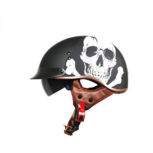 Casco De Moto Harley,Retro Cascos Abiertos Para Moto Con Gafas De Protección, Cuero Hecho A Mano Cascos Jet Half-Helmet Cascos De La Motocicleta Scooter Motoneta Casco Para Adultos Hombres Mujeres