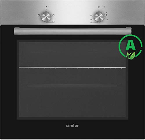 Simfer SMF-BO 6019 Einbau-Backofen Edelstahl | 60 cm | 3 Funktionen | Backraumbeleuchtung | 2-fach Verglasung | Emaillierter Garraum | Kühlgebläse | 2 Jahre Garantie