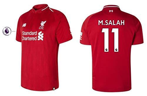 New Balance . Camiseta para hombre FC Liverpool 2018-2019, primera equipación, PL - M. Salah 11, ADFHF/002, medium