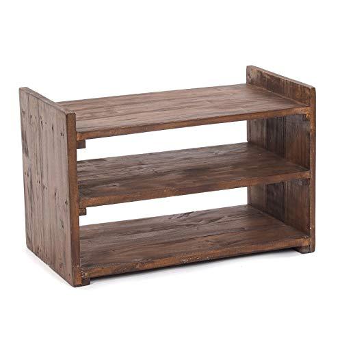 DESIGN DELIGHTS RUSTIKALES MASSIVHOLZ SCHUHREGAL Capri | 55x35x30 cm (BxHxT), Recyclingholz | Schuhschrank aus Holz mit 3 Ablagen | Farbe: 03 Dunkelbraun