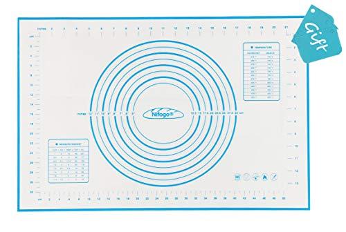 Nifogo Silikonmatte Silikon Backmatte Baking Mat, Silikon backmatte mitskala, Teigmatte aus Silikon zum Backen, BPA frei, Nonstick, Wiederverwendbar (Blau, 40 * 60)