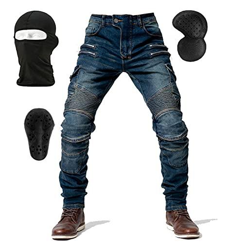 NXSP Pantaloni Da Moto In Denim Da Uomo, Jeans A Gamba Dritta Resistenti Alla Caduta Con 4 Tipi Di Dispositivi Di Protezione, Pantaloni Da Moto Da Corsa (Blue,L)