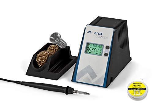 ERSA i-CON PICO digital regelbare Lötstation 80 Watt im Set mit Lötdraht inkl. Zubehör wie stabile Lötkolbenhalterung, Lötkolben i-Tool Pico | Löttemperatur regelbar 150 bis 450 °C | Auto-Standby