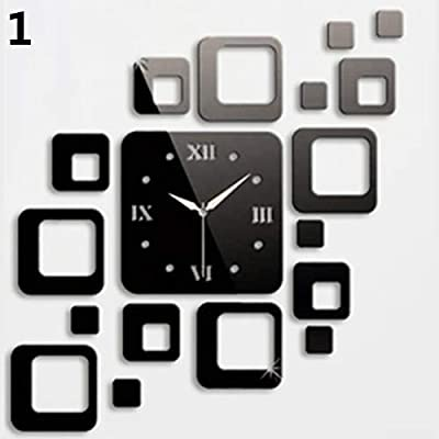 Holrea Modern Design 3D DIY Wall Clock Mirror Sticker Square Wall Sticker Clock Removable Decal Art