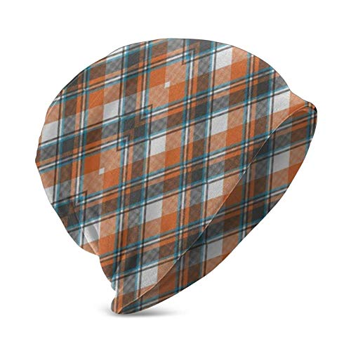 Yuanmeiju Strickmütze Skull Cap Orange Blue White Plaid Rustic Christmas Beanie...