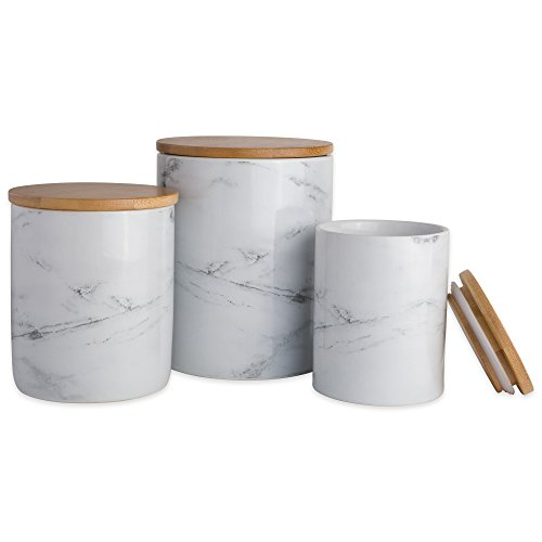 "DII CAMZ38970 3-Piece Modern Ceramic Kitchen Canister with Airtight Bamboo Lid for Food Storage, (Assorted Sizes: 4.5x4.5x5.5, 4x4x4.5"", 3x3x4""), White Marble"