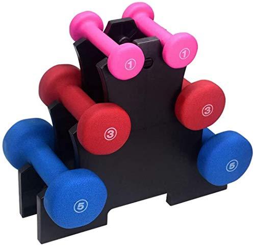 OMING - Mancuernas impregnadas de plástico con estante para mujer y hombre, juego de mancuernas de peso pequeño, equipo de fitness y ejercicio