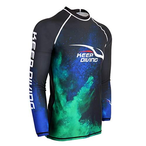 SM SunniMix Herren Schwimmshirt Langarm UV Shirt Rash Guard Badeshirt Neopren Bademode für Schwimmen, Schnorcheln, Surfen oder Segeln - 2XL