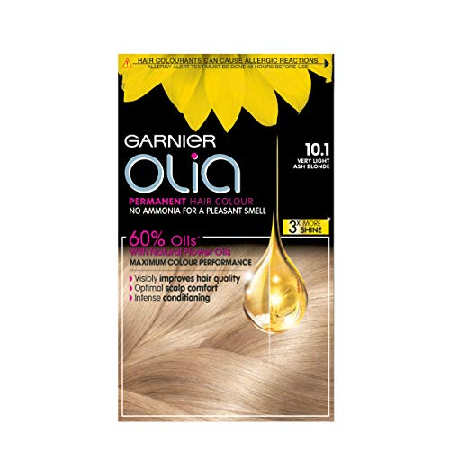 Garnier Olia Very Light Ash Blonde Permanent Hair Dye, No Ammonia for A Pleasant Scent, Up To 100% Grey Hair Coverage, Maximum Colour Performance, 60% Oils - 10.1 Very Light Ash Blonde