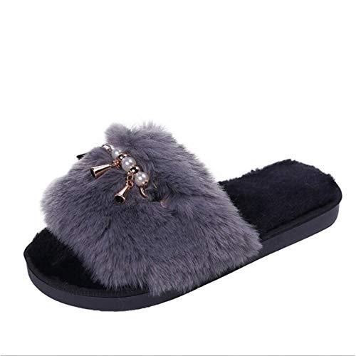 MagicXle Zapatillas de casa para Mujer Zapatos de Invierno cálidos Slip On Flats Slides Zapatillas de Piel sintética para Mujer, E, 7