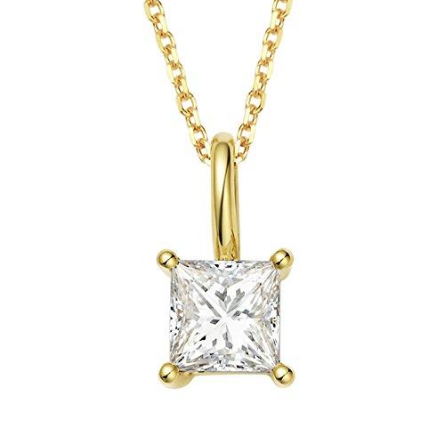 Daesar 18K Gelbgold Damen Halskette Quadrat 1 Diamant Prinzessin Schnitt Anhänger Halskette Gold Kette 45CM