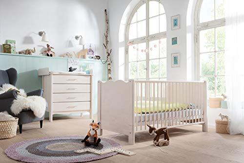 Biokinder Komplett-Set Feli Babyzimmer mit bionik Matratze aus Massivholz Birke weiß lasiert