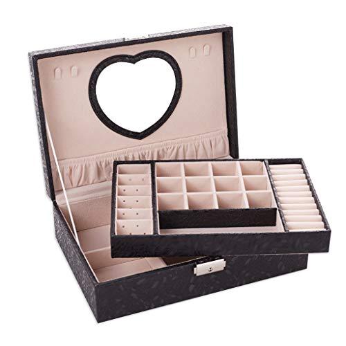 LTCTL Joyero para Mujer con Espejo En Forma De Corazón,2 Capas,Soporte De Joyería De Pantalla Grande, Patrón De Hoja,Caja Organizadora (Color : Jewelry Box A)