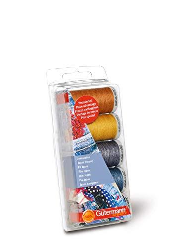 Gütermann - Set di 5 rotoli di filo da cucire jeans, extra resistente, da 100 m l'uno