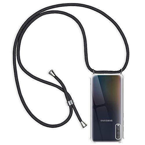Funda Compatible con Samsung Galaxy A50/A50S/A30S, Transparente Silicona Carcasa con Cuerda, Ultrafina Suave TPU Gel Case con Cuerda para Colgar Ajustable Anti Golpes Protector Case (Negro)