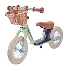 Bandits and Angels - Retro balance bike with willow basket and pneumatic tyres (Retro Green)