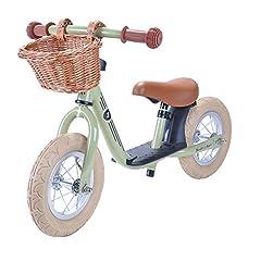Bandieten en Angels - Retro balans fiets met wilgenmand en pneumatische banden (Retro Green)*