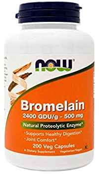 Now Bromelain 500 mg 200 Veg Capsules - Natural Pineapple Proteolytic Enzyme Supplement 2400 GDU
