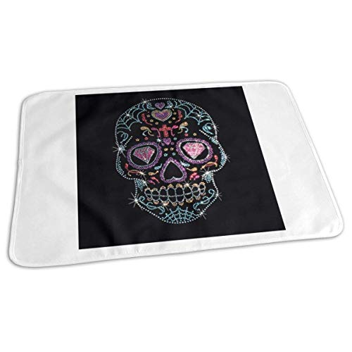 Voxpkrs Changing Pad Rhinestone Studs Sugar Skull Baby Diaper Urine Pad Mat Cool Toddler Children Mattress Cover Sheet for Any Places for Home Travel Bed Play Stroller Crib Car