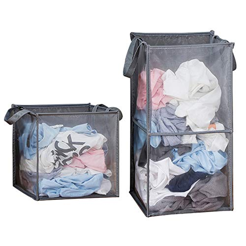 Set of 2 Popup Clothes Laundry Hamper Mesh, Collapsible Laundry Sorter Basket Portable Space Saving Double Clothes Organizer for Bathroom Bedroom College Dorm Room (33L+65L)