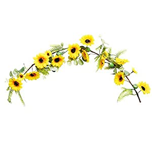 æ— Artificial Sunflower Swag, 27.55inch Silk Sunflower Vine Wall Hanging, Spring Garland with Yellow Flower and Green Leaves for Home Garden Wedding & Party Decor