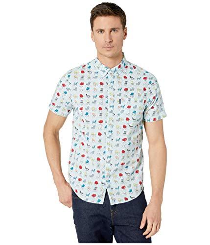 Original Penguin Men's Short Sleeve Camp Collar Button Down Shirt, Ballad Blue Chairs, X Large