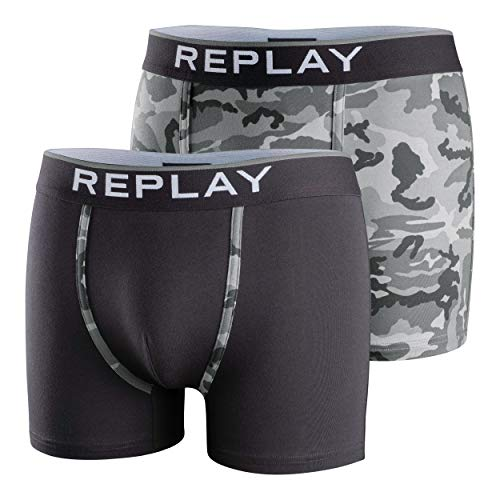 Replay Boxer I101195, 2pcs Box, Black/Camouflage Grey, XXL