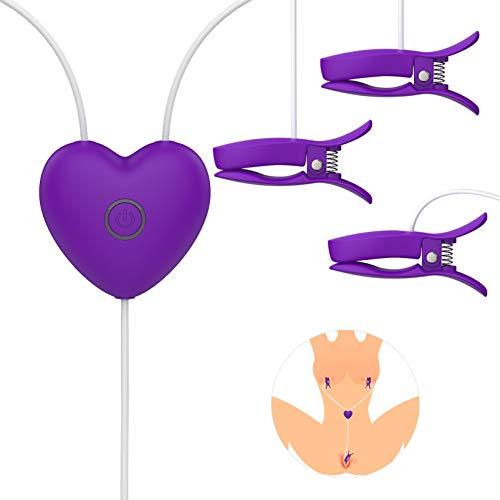UTIMI Nippelklemmen Nipple Clamps und Klitoris Clamps Sexy Einstellbar Vibratoren für Sie mit 3 Vibrationen und 7 Pulsmodi Brust und Klitoris stimulation Sextoys BDSM Sexspielzeug extrem für Paare