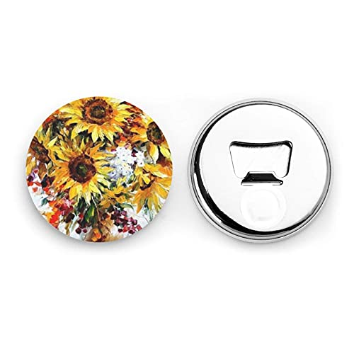 Oil Painting Sunflower Round Bottle Openers/Fridge Magnets Stainless Steel Corkscrew Magnetic Sticker 2 Pcs