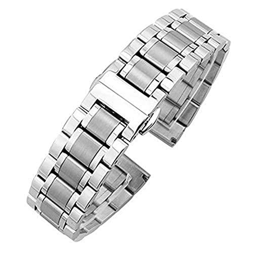 ZXF Correa Reloj, Metal Plata sólido Acero Inoxidable Reloj de Lujo Correa Accesorios de Correa Plegable Suavizado 18 mm 19 mm 20 mm 21 mm 22 mm 23mm 24mm Pulsera (Color : Silver, Size : 22mm)