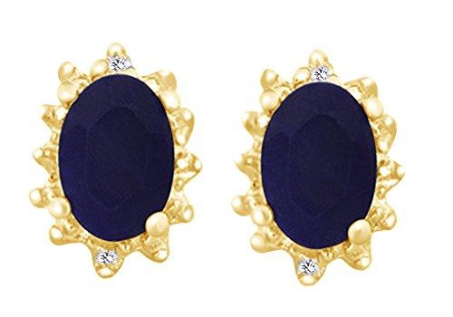 Orecchini a perno in argento Sterling 925 con zaffiro blu e diamante naturale placcato oro 18 carati e argento placcato oro giallo 18 ct, colore: bianco, cod. UK-M-CSE8384-WG