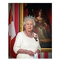 Suuyar 額入りアートワークエリザベスIi女王の肖像画キャンバスアート写真ポスターと版画絵画壁ホームリビングルームの装飾-50X70Cm木製インナーフレーム