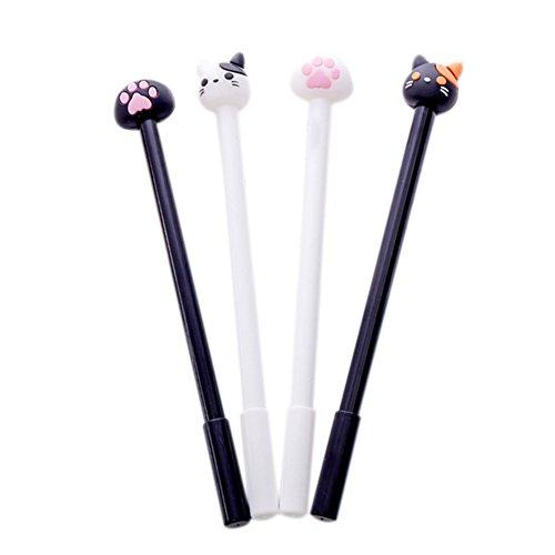 Cosanter 4 Stück Stift Niedlichen Cartoon-Katze Palm Kugelschreiber Gel-Pen für Basteln Schreiben Zeichnen