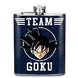 Jsmhh Dragon Ball Z Goku Equipo de impresión Petaca Botella de Bolsillo portátil Flagon 7 oz de Acero Inoxidable Flagon
